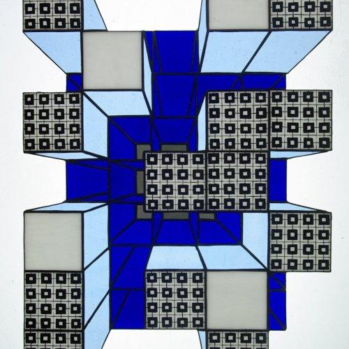 City– JANA NOVÁKOVÁ, tiffani technika, 60×40 cm