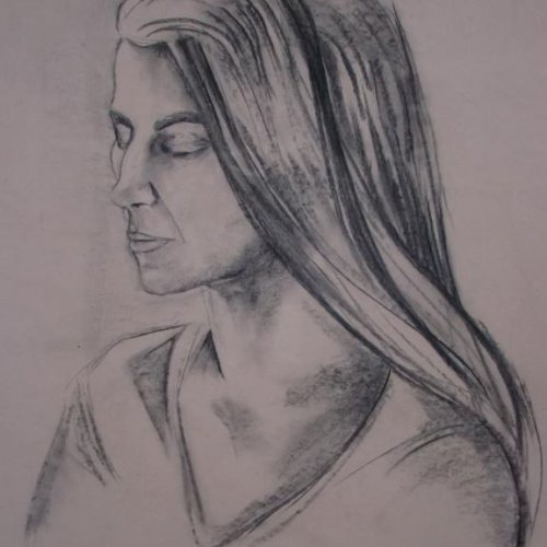 Gabriela – NELA HYNKOVÁ, kresba uhlem