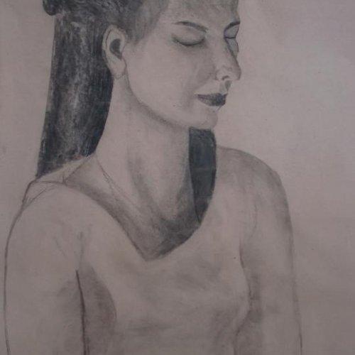 Gabriela – LUCIE VONDRUSOVÁ, kresba uhlem