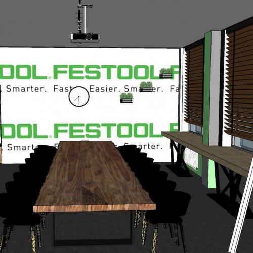 NÁVRH ZASEDACÍ MÍSTNOSTI PRO FESTOOL – Michala Horvátová, 3D vizualizace,  pod vedením MgA. Michaela Franče a Ing. Lady Slavíčkové