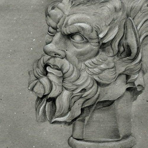 STUDIE BUSTY – Adéla Výborná, kresba tužkou a bělobou, 90 x 65 cm,  pod vedením MgA. Marka Škubala, Ph.D.
