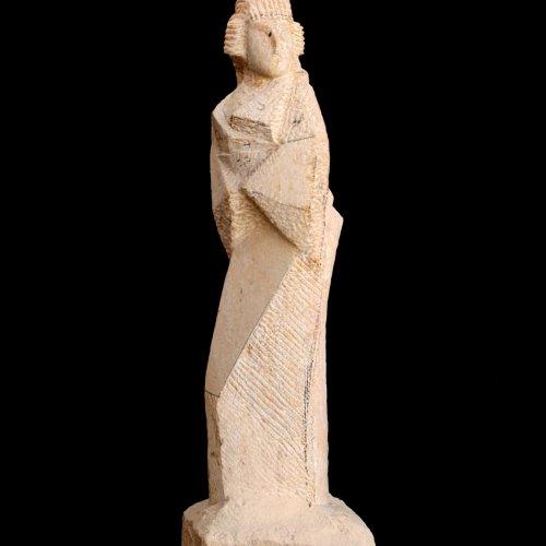 GEJŠA - Nikola Palusková, pískovec, 100 cm, pod vedením akad. soch. Sylvie Choisnel a MgA. Marka Škubala