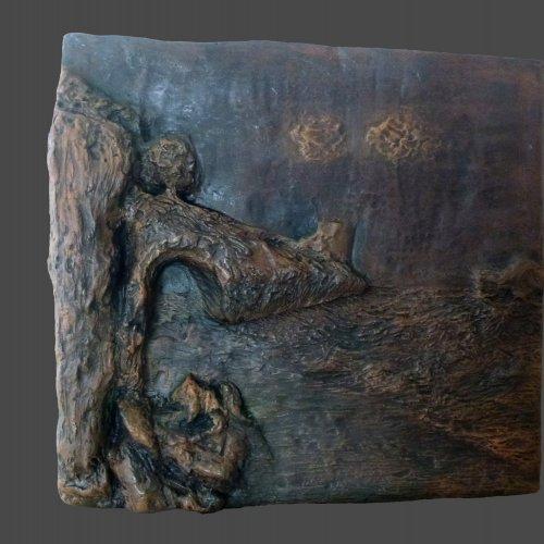 KRAJINA - Linda Valentová, patinovaná sádra, 60 cm, pod vedením akad. soch. Sylvie Choisnel