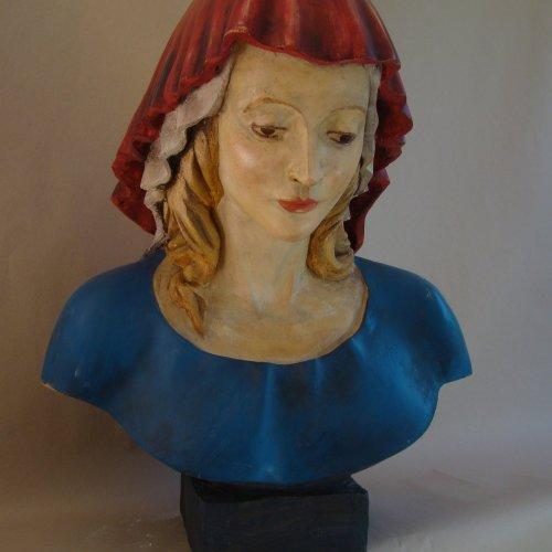 LIPNICKÁ MADONA (kopie) - Nela Hynková, polychromovaná sádra, 65 cm, pod vedením akad. soch. Sylvie Choisnel