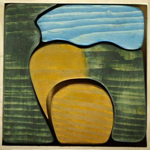 PUZZLE - studentská práce, dřevo, 20 x 20 x 3 cm, pod vedením MgA. Veroniky Černé