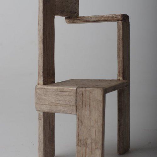 MODEL ŽIDLE - studentská práce, dřevo, výška 10 cm, pod vedením MgA. Veroniky Černé