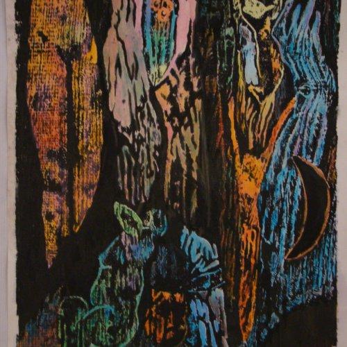 LE DÉSIR - TOUHA – akad. soch. Sylvie Choisnel, kolorovaný linoryt