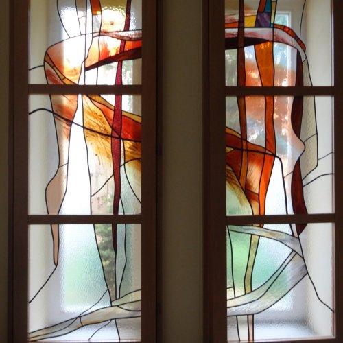 VITRÁŽ – Miloš Jírovec, vitráž na městském úřadu ve Světlé nad Sázavou, 210 x 130 cm