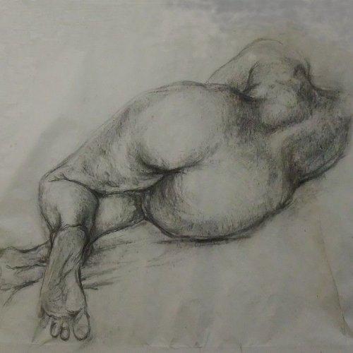 AKT - MgA. Martina Klimošová, kresba uhlem, 110 x 110 cm