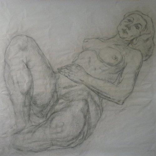 LEŽÍCÍ AKT - MgA. Martina Klimošová, kresba uhlem, 86 x 81 cm