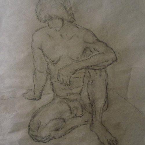 SEDÍCI AKT - MgA. Martina Klimošová, kresba uhlem, 56 x 68 cm