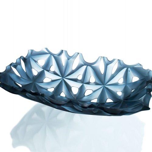 NEGATIVE BLUE - MgA. Milan Krajíček, tavené a lehané sklo, 49 x 32 x 14 cm