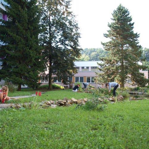 Údržba přírodní zahrady před bienále
