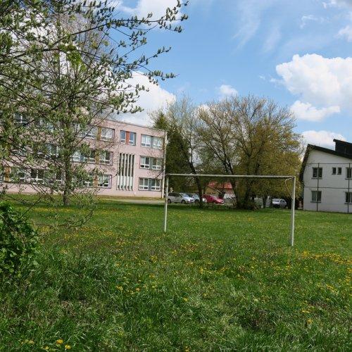 Školní travnaté hřiště již také hýřilo barvami, ale stromy vjeho okolí během dubna ještě příliš nepospíchaly.