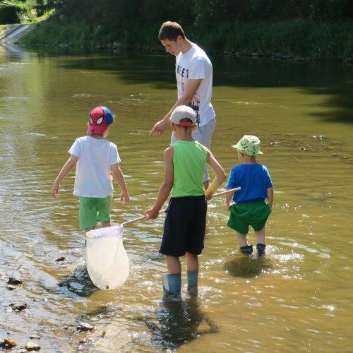 Tahle skupinka právě sleduje rej malých rybek.