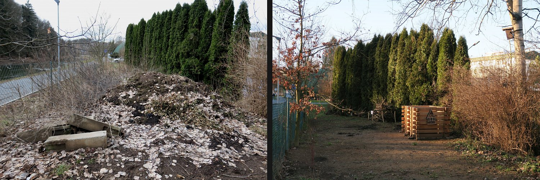 JZ roh areálu 9.3.2017 (vlevo) a poté 7.12.2017 (vpravo)