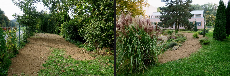 Vlevo: Máme to– půda pro louku připravena. Vpravo: Okolo jezírka se již může osívat. 20.9.2017