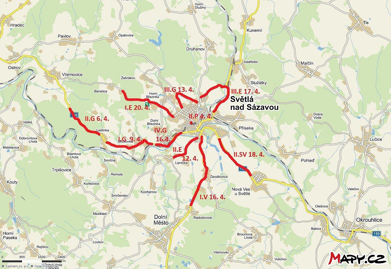 Čistá Vysočina pod taktovkou naší školy– mapa sbíraných úseků vroce2018