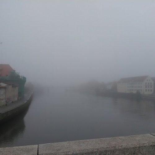 Dunaj v Řeznu v mlze