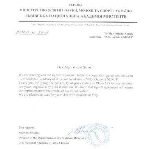 Část korespondece týkající se oboustranné dohody
