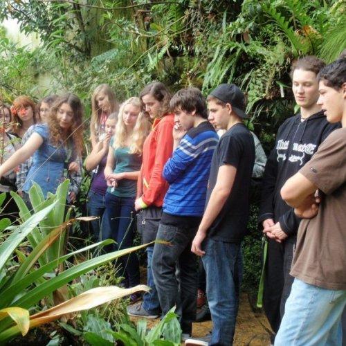 Velkou pozornost studentů přitáhly velmi důmyslné pasti masožravých rostlin ve třetí části skleníku.